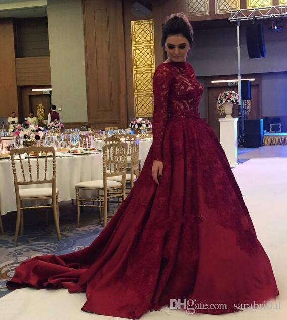 Dark Red Prom Dresses 2018 With Long Sleeves Jewel Neck ...