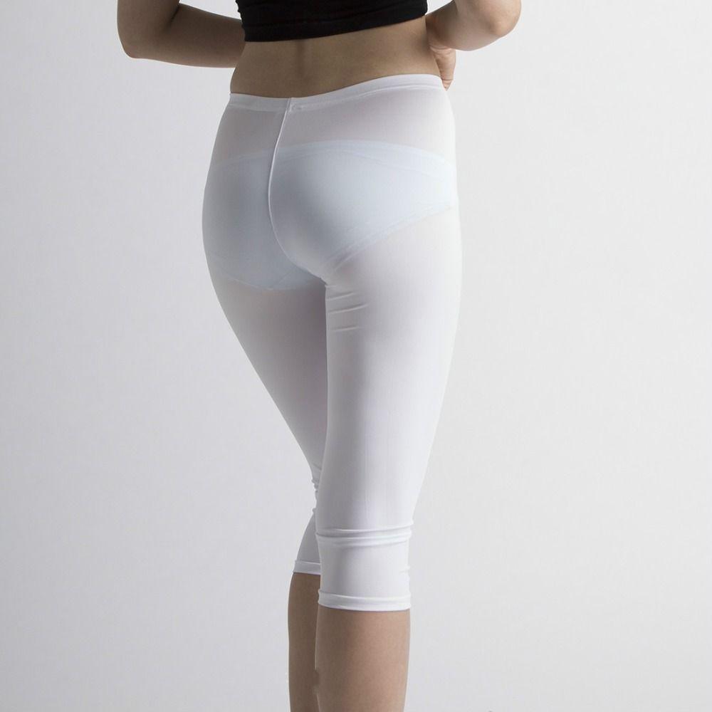 2017 Sexy Hot See Through Transparent Black White Capris Women ...