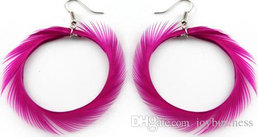 Feather Earrings wholesale Cute Circle Charm Light Dangle Eardrop Hot New Turquoise Green Yellow Royal Black Brown JF286