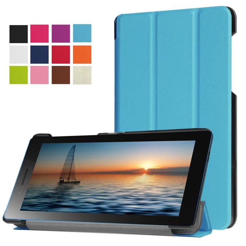 50pcs Ultra Slim Tri-Fold PU Leather Case Stand Cover for 2016 Lenovo Tab 3 7 730M TB3-730M 730F TB3-730F + Screen Protector Film