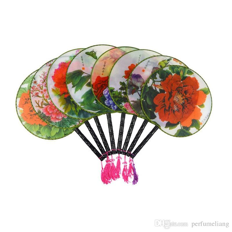 Round Palace Chinese Silk Fans Wedding Party Birthday Favor Adult Ladies Handle Hand Held Fan Ethnic Dance Show Props ZA4807