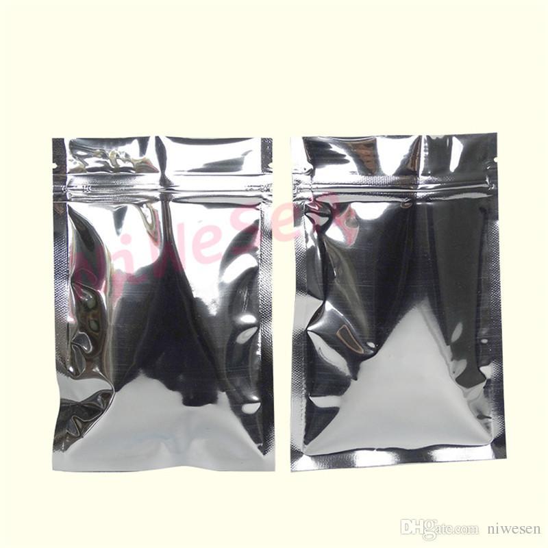 10x15cm, / X 실버 도금 알루미늄 호일 지퍼 잠금 백 - Mylar 호일 플라스틱 파우치 resealable 지퍼 클립 손잡이 스티커 식품 보관
