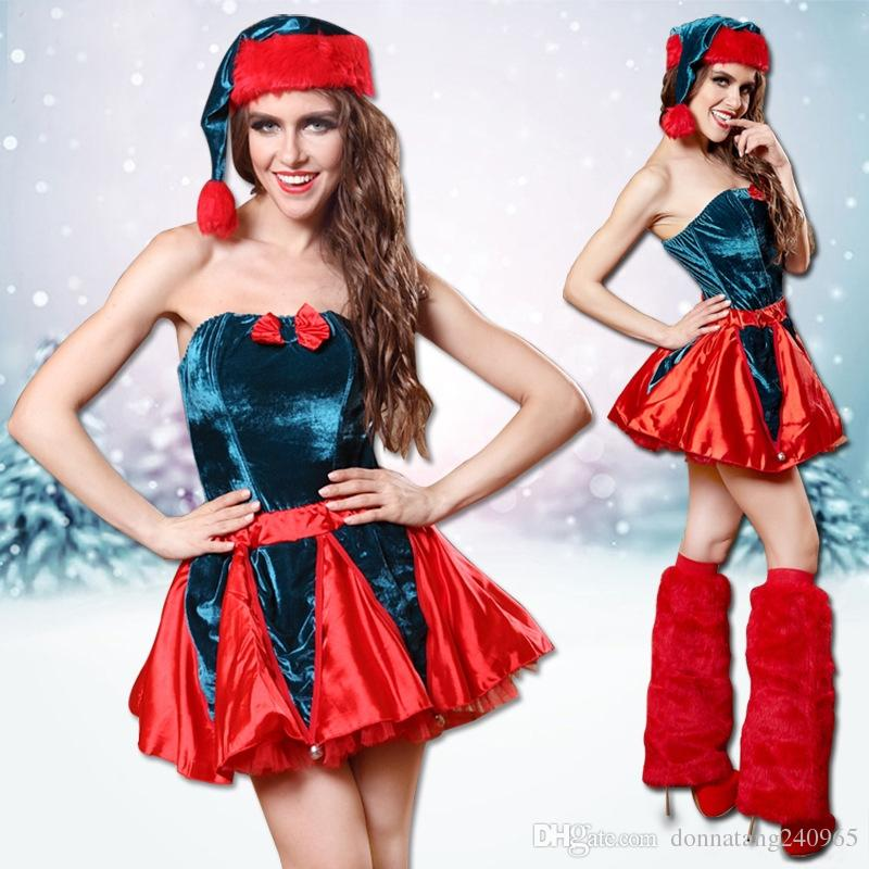 2018 women cosplay santa dress christmas set red blue contract color