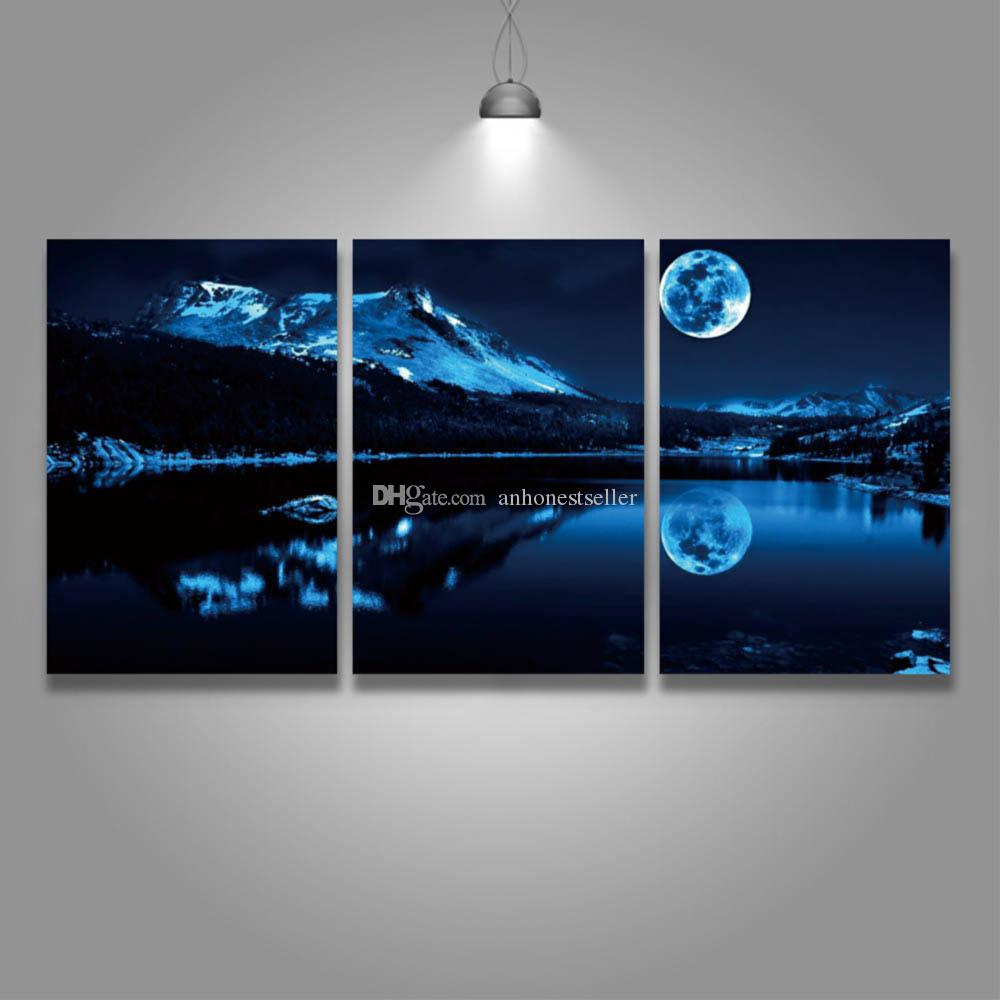 2018 3 Panel Set Canvas Wall Art Prints Moonlight Mountain Landscape Painting Modern Picture For Home Decor Living Room Bedroom From Anhonestseller ... & 2018 3 Panel Set Canvas Wall Art Prints Moonlight Mountain Landscape ...