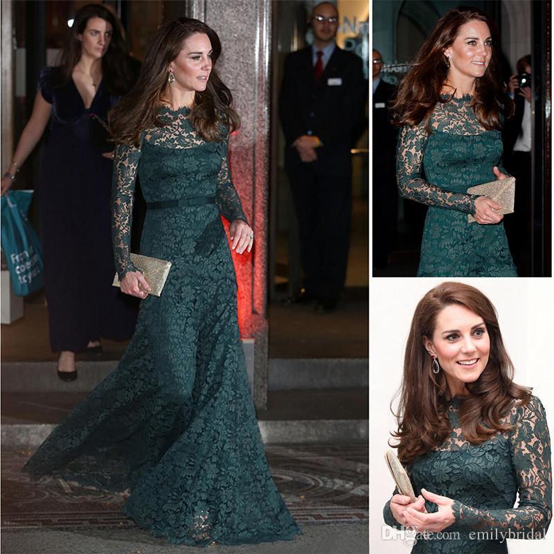 Großhandel Prinzessin Kate Formale Kleider Abend Spitze Lange Hülse ...