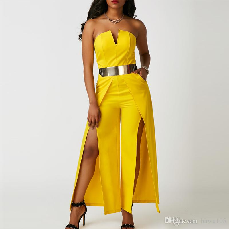 fd94108a0db 2019 2018 Ladies Evening Party Jumpsuit Sexy Strapless Split Wide Leg Jumpsuits  White Yellow Slim Fit Long Rompers S 2XL ZSJG0801 From Hhwq105