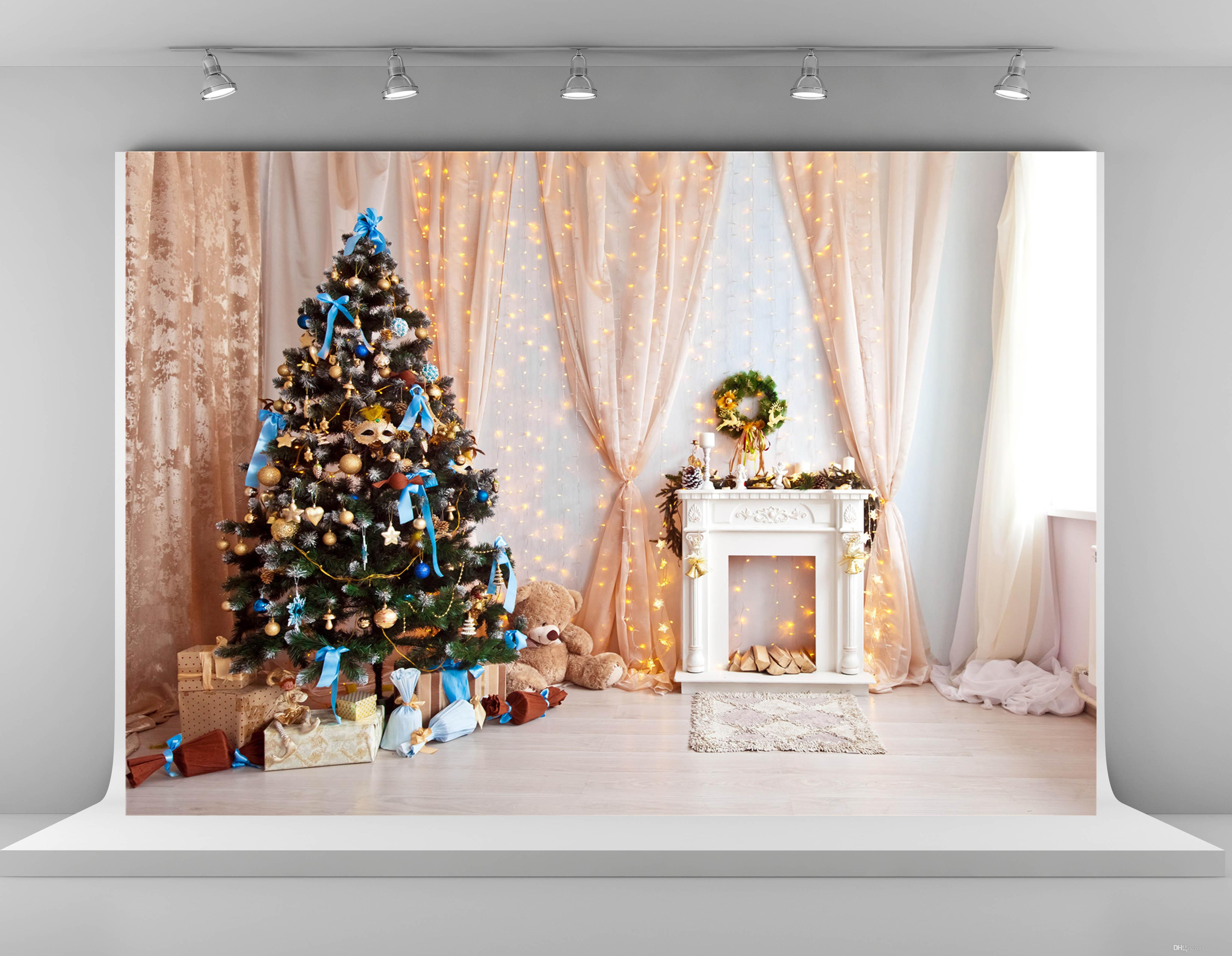 Indoor Fireplace Christmas Tree Photography Background: Digital Printing Christmas Photography Backdrops Pink