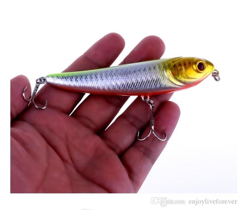 Blue Yellow Black Pencil Fishing Lure 10cm Lifelike Plastic Hard Baits or Pencil Popper Fishing Tackle