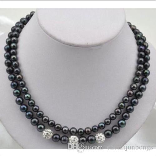 "NEW 2ROW 8-9mm 9-10mm tahitian black pearl necklace 14k white gold clasp 18"" 19"""