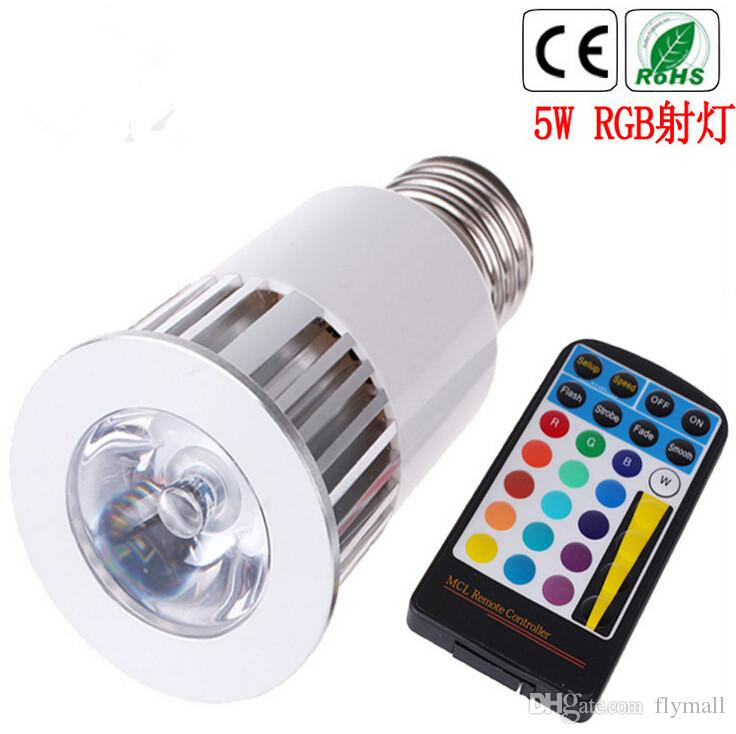 Memory Function Color Changing RGB LED Spotlight LED Flash Spot Light 5W E27 GU10 Led Bulbs AC 85-265V Mood Light with 28keys IR Remote