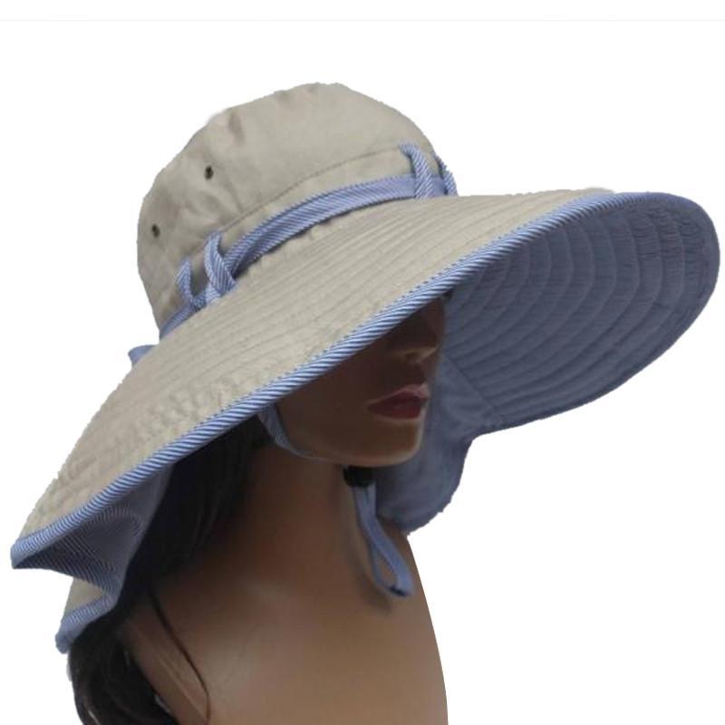 487d20f71dc Wholesale Summer Women Hat New Fashion Lace Up Women Sun Cap Large Wide  Brim Cotton Breathable Beach Hats Outdoor Hiking Folding Caps Cool Hats  Panama Hats ...