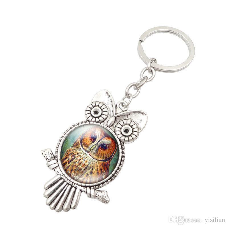 Livraison gratuite Retro Owl Time Gemstone Metal Keychain Hot Keychain R149 Arts et Métiers mélangent