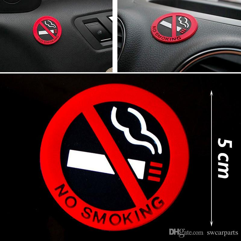 Car styling no smoking warning logo rubber stickers round red black white 3m tape car stickers fuel opening warning logo car styling no smoking warning logo