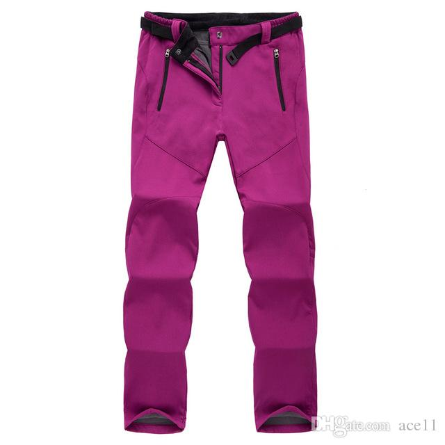 76af52c79e6 2019 Winter Ski Pants Women Solft Shell Pants Plus Size Waterproof Snow  Pants Thicken Fleece Hiking Pant Snowboard Trousers From Ace11