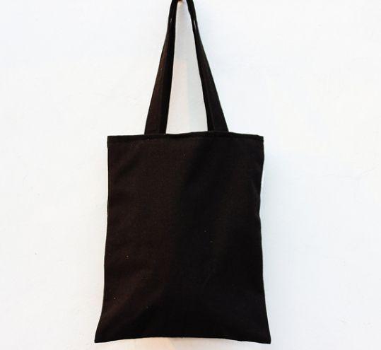 New Girls Eco 12A black Canvas organizer shoulder Bags With lining blank handbag Custom Shopping Bags hand bag kids DIY Gift crafts bags