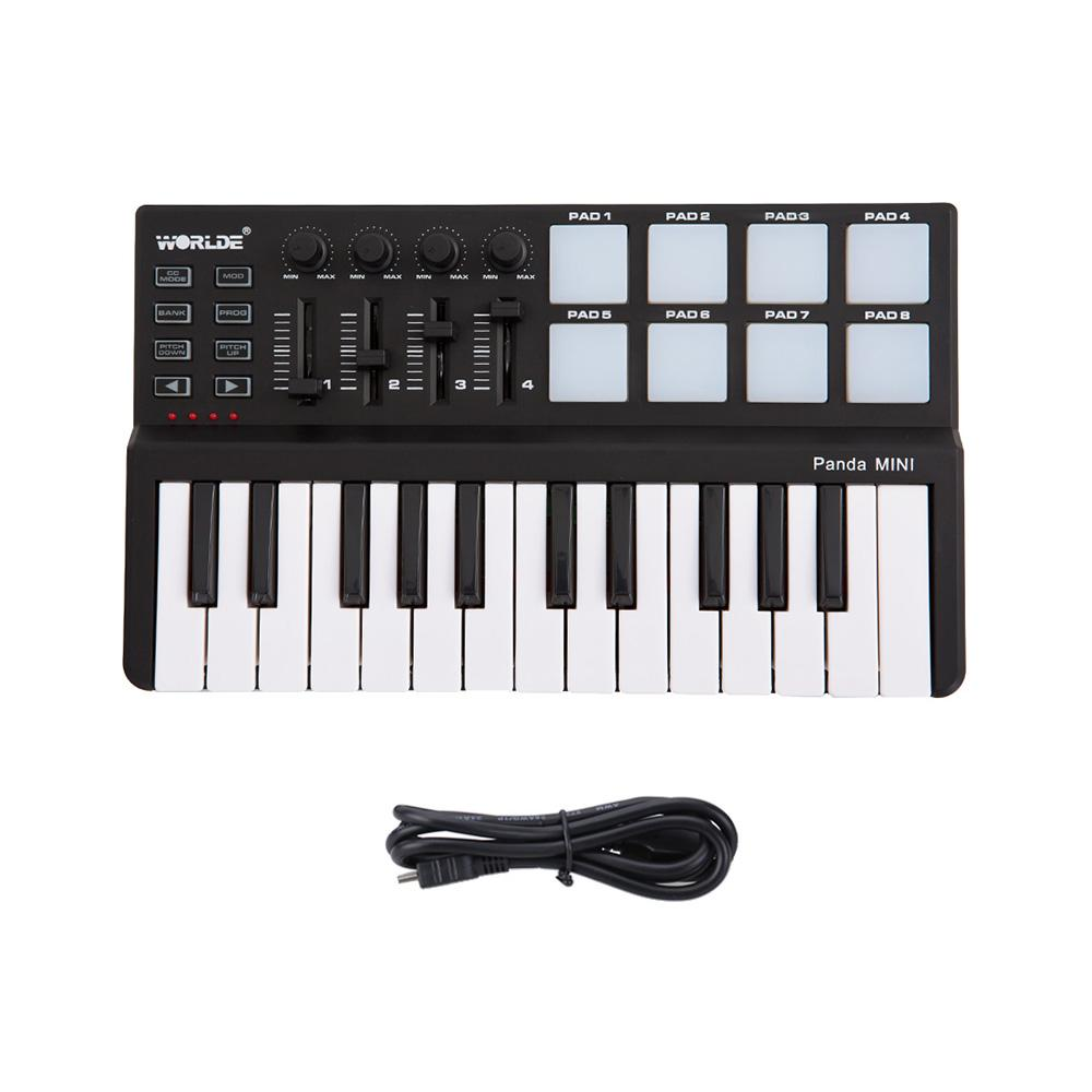 mini Portable Mini 25-Key USB Keyboard Controller and Drum Pad MIDI Controller