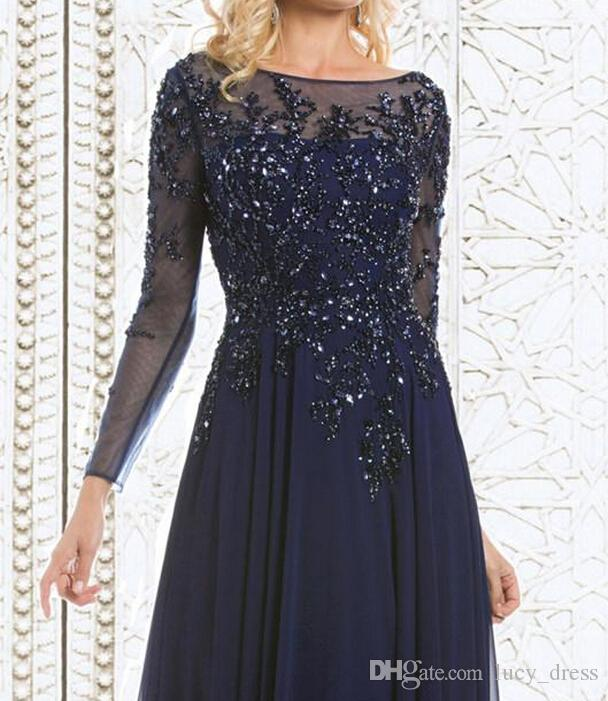 신부 드레스 쉬폰의 2019 톱 판매 우아한 네이비 블루 어머니 긴 소매 쉬어 목 아플리케 장식 조각 이브닝 드레스 시스루