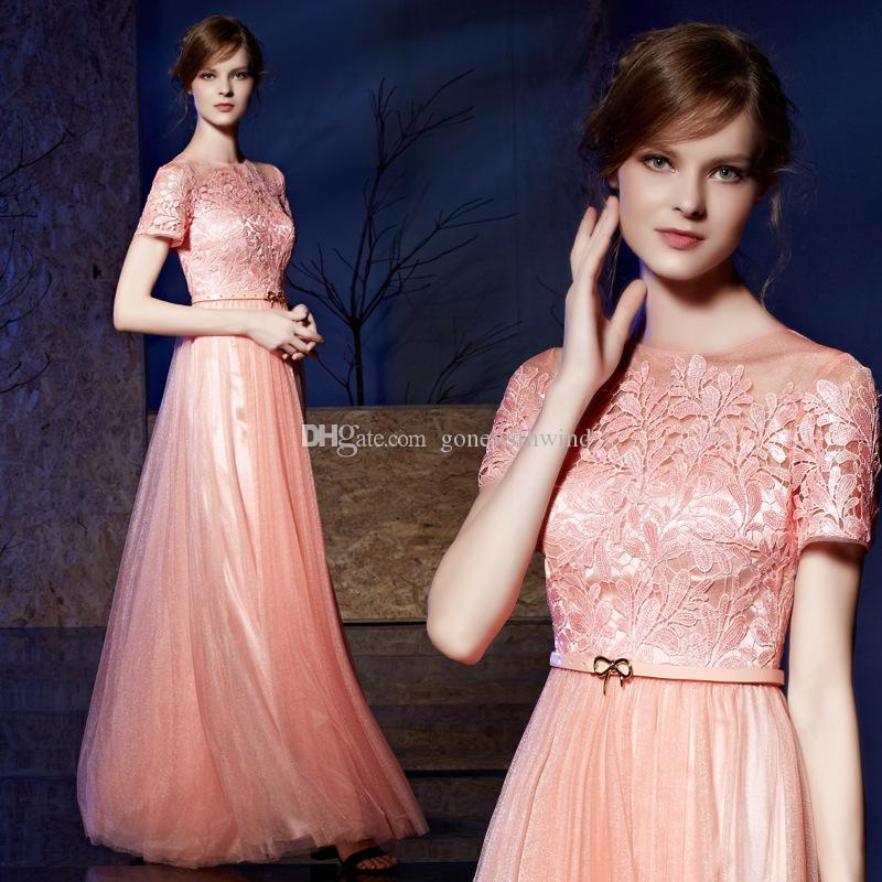 Pink Sequin Tulle Short Sleeves Formal Evening Dresses 2018 Dubai ...