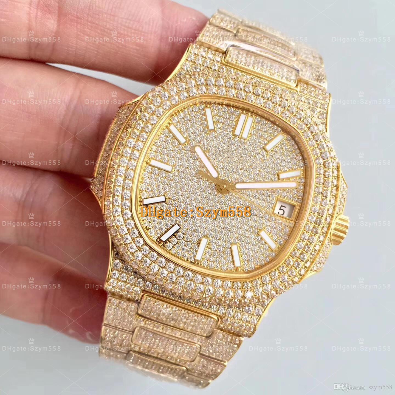 La mejor calidad Reloj de diamante Nautilus Movimiento automático Reloj de lujo impermeable Hombre 40 mm 316 Movimiento de barrido inoxidable Juego de diamante helado hacia fuera