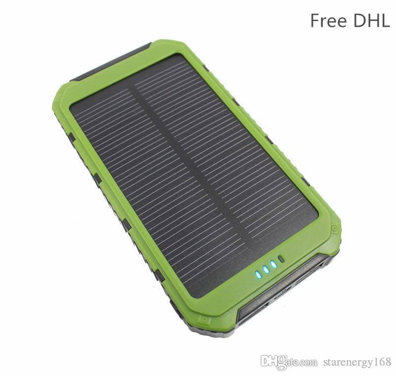 10pcs-High quality LED Dual USB solar power bank Panel Battery solar portable Charger 10000 mah For xiaomi Mobile Phone 3-TY
