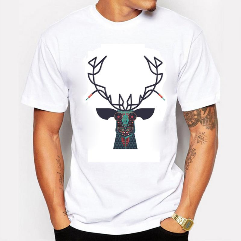 2016 Summer Men T-Shirts Printing DJ Equipment Configuration Musical Symbol Elk Head Personalized Style Tee Shirt Men's T Shirts