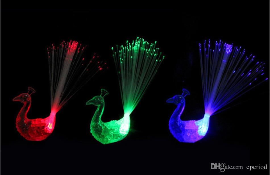 Flashing Peacock Finger Lights Lamps Party Laser Finger Light Up Beam Torch Glow Ring Children'Day High Quality DHL free