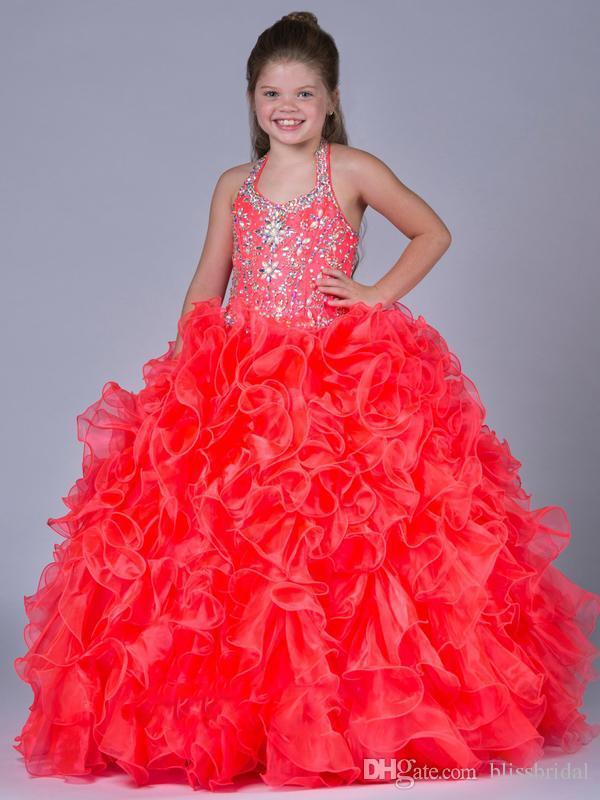 Vestidos de pagamentos de cristais de luxo para flores meninas cabrestras garotas meninas vestido de baile vestido 2017 surpreendentes babados vestidos pagent meninas