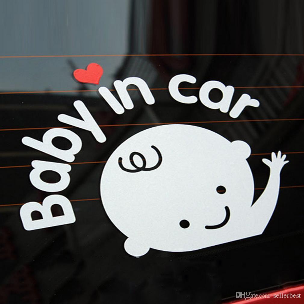 3D الكرتون ملصقات السيارات العاكسة الفينيل التصميم الطفل في سيارة الاحترار سيارة ملصقا الطفل على متن الطائرة على الزجاج الأمامي