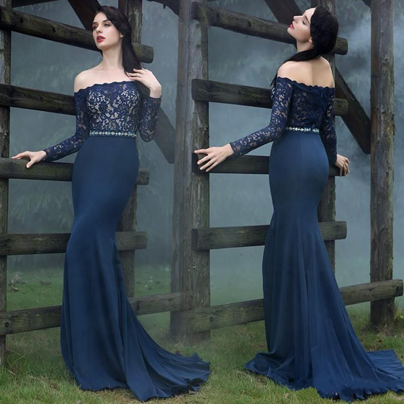 94afffa5063 2018 Elegant Dark Navy Mermaid Evening Dresses Off Shoulder Long Sleeves  Lace Prom Dress Custom Made Special Occasion Dress Mother Dress Evening  Dresses For ...