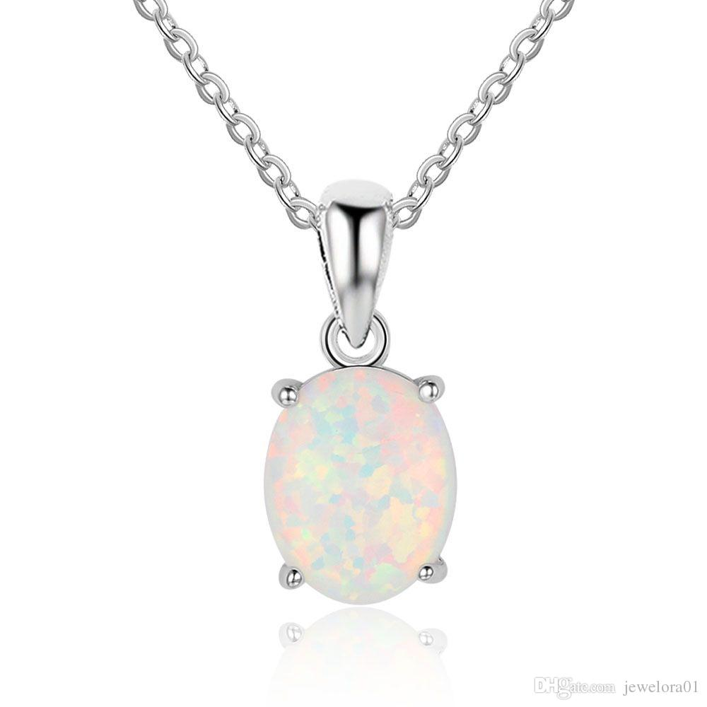 xny bling sterling white jewelry gemstone pendant heart necklace silver opal
