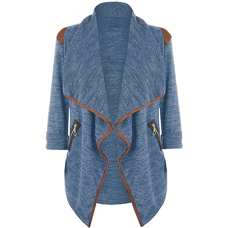 a3c2b211e1d Wholesale Plus Size Women Casual Solid Color Cardigan Jacket Fashion Big  Lapel Long Sleeve Zipper Outwear Female Loose Coat Poncho Quilted Jackets  Sweater ...