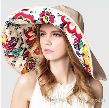 Floppy Foldable Sunhat Flexível das Mulheres Grande Wide Brim Cap Verão Praia Floral Dois Lados Chapéu de Proteção UV
