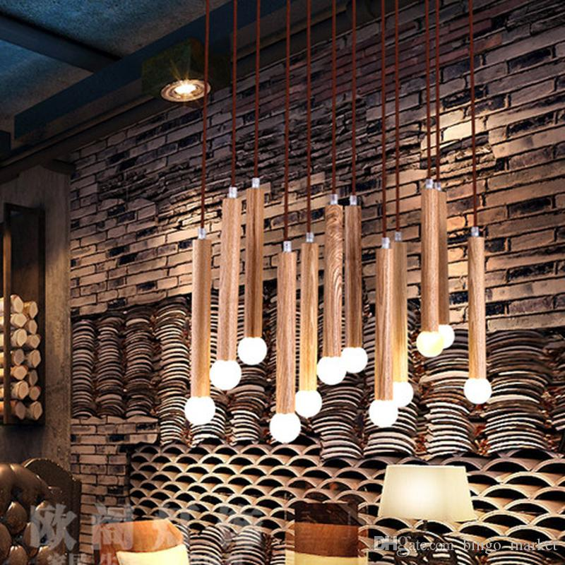 Discount Modern Lamp Pendant Lights Art Wood Match Led Indoor Lamp ...