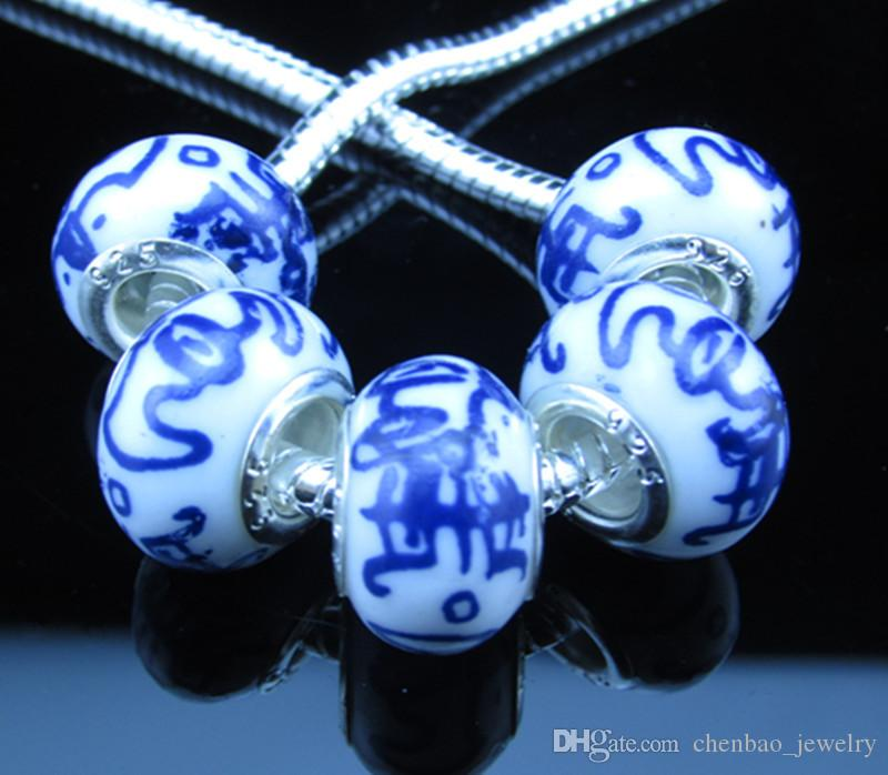 Ceramic Handmake Porcelain Chinese Style Print Flower Symbol Charm Big Hole Bead Silde Spacer Charm Fit European Charms Braclet