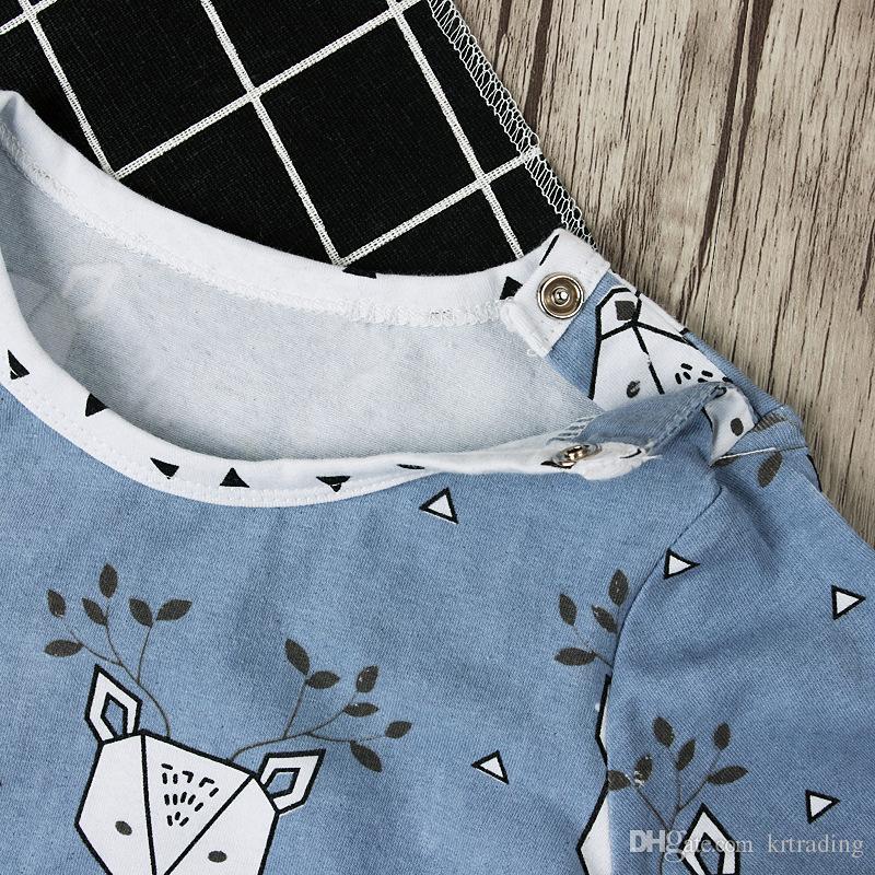 Baby Elk print onesie sets triangle printing hat+deer head leaves printing long sleeve romper ins hot infants Xmas outfits clothing