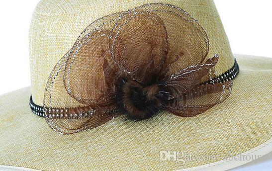 Heißer Verkauf Frauen Sommer Breiter Krempe Strohhüte Floral Design Weave Floppy Caps Seaside Strand Kopf tragen Ornamente