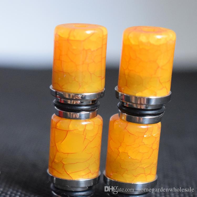 Haute qualité 510 conseils de goutte à goutte de résine pour e cigs acier inoxydable large pointe de pointe