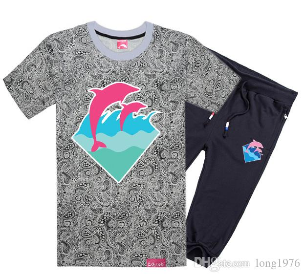 Pink dolphin short-sleeved pant cotton men's casual O-neck letter design t-shirts +short fashion cotton tops
