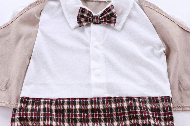 1 unids Bebés Bebés Traje de Caballero Infantil Traje de Cuerpo Con Corbata de Rompers Ropa Trajes Pantalones A Cuadros Escalada Ropa De Bebé Masculino Luna Llena Niños camisa