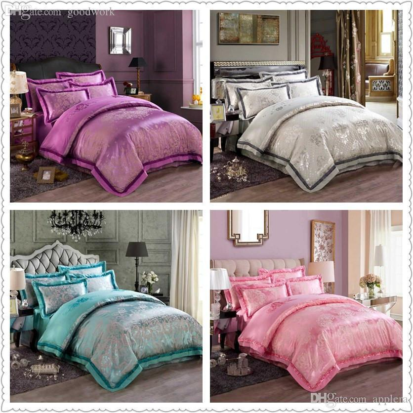 wholesale oriental duvet cover queen king size bright color silk satin bedding set luxury bedclothes jacquard embroidered chinese textile train bedding