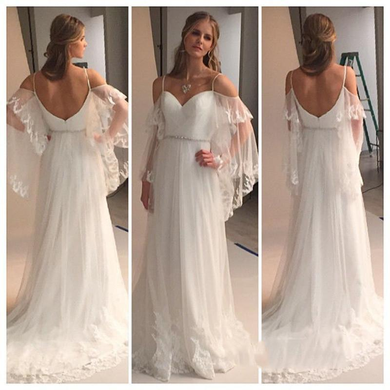 2019 Greek Country Style Bell Sleeve Boho Beach Lace Wedding Dresses elegant Sweetheart Off-shoulder Beaded Belt Bohemain Cheap Wedding Gown