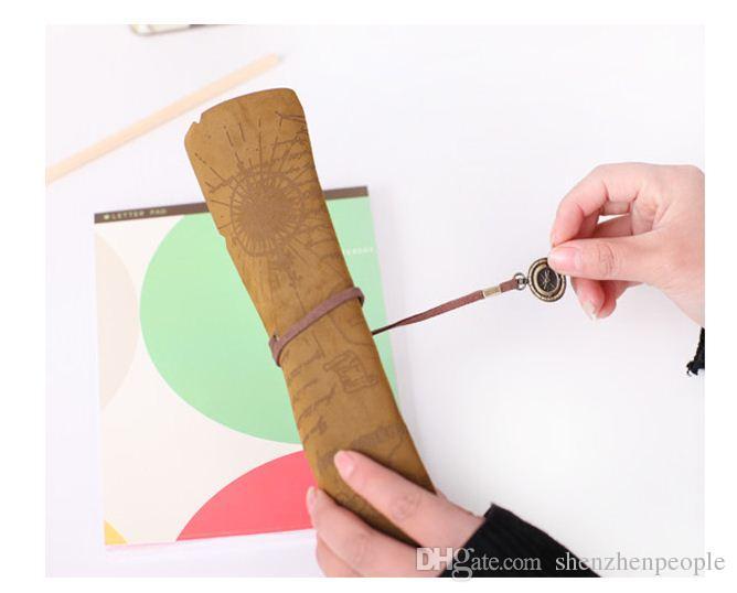 Livraison gratuite, / 3style PU carte pirate Vintage poche stylo étui à crayons rouleau, sacs crayon cosmétique sac stylo