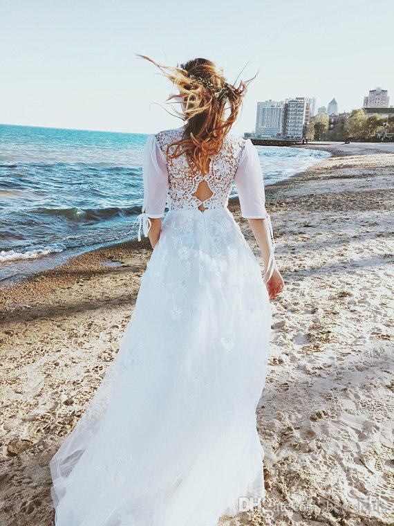 2017 robes de mariée bohème romantique avec demi manches flux en mousseline de soie dentelle étage longueur Boho Beach robes de mariée
