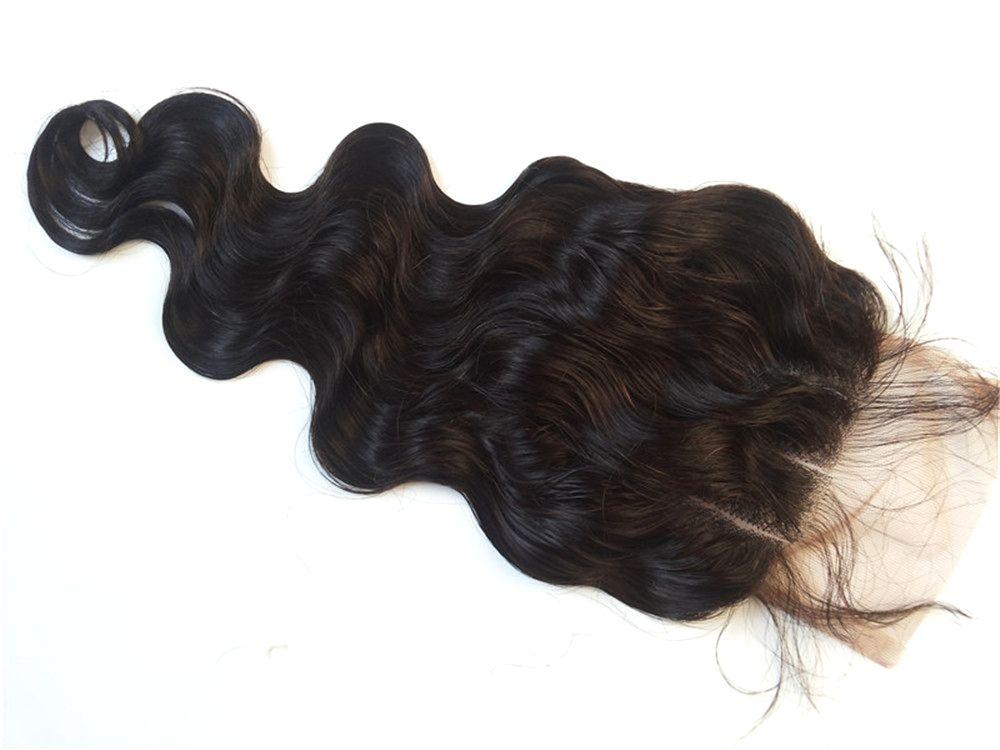 G-EASY cuerpo onda cierre de encaje cordón de pelo virginal brasileño parte delantera cierre pieza libre parte media rizado cierre de pelo humano