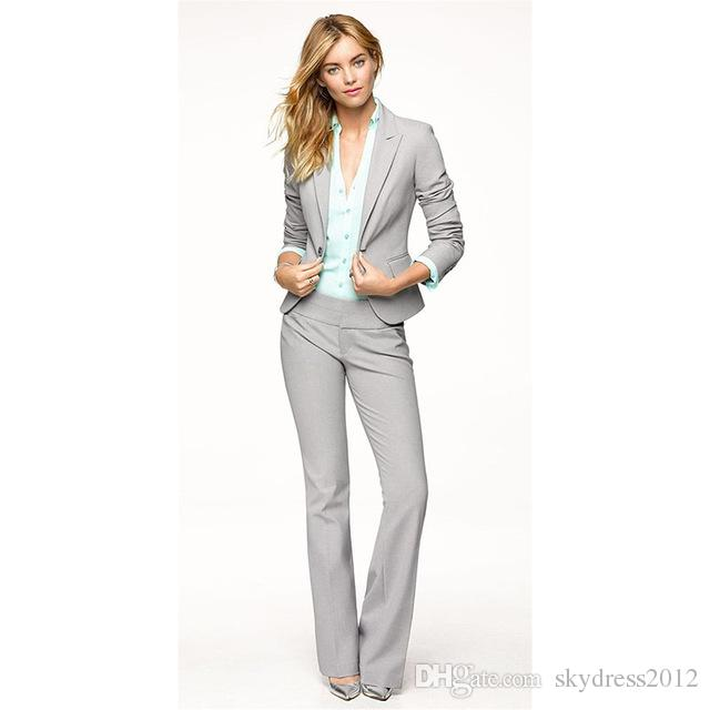 ee943e74517 Womens Dressy Trouser Suits Mylifeandnewlife. 2019 Light Gray Women Pants  Suits Blazer Business Work Wear Uniforms