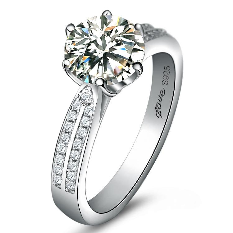 Luxury 925 Sterling Silver 2 Ct Hybrid Simulated Diamond Ring for ...