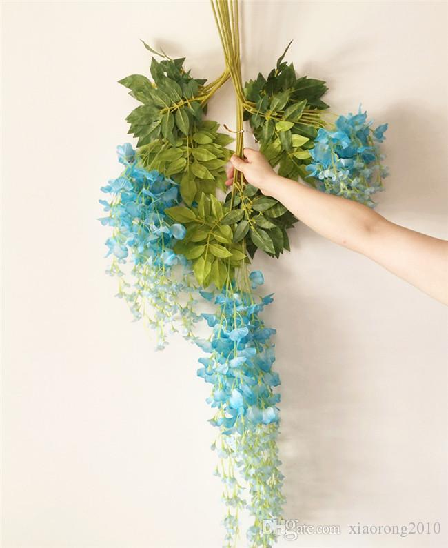 24 stks Kunstmatige Wisteria Vines 110cm / 70cm Zijde Wisteria Bloem Rotans Bean Flowers voor Bruiloft Xmas Party Home Decoratove Vine Flowers