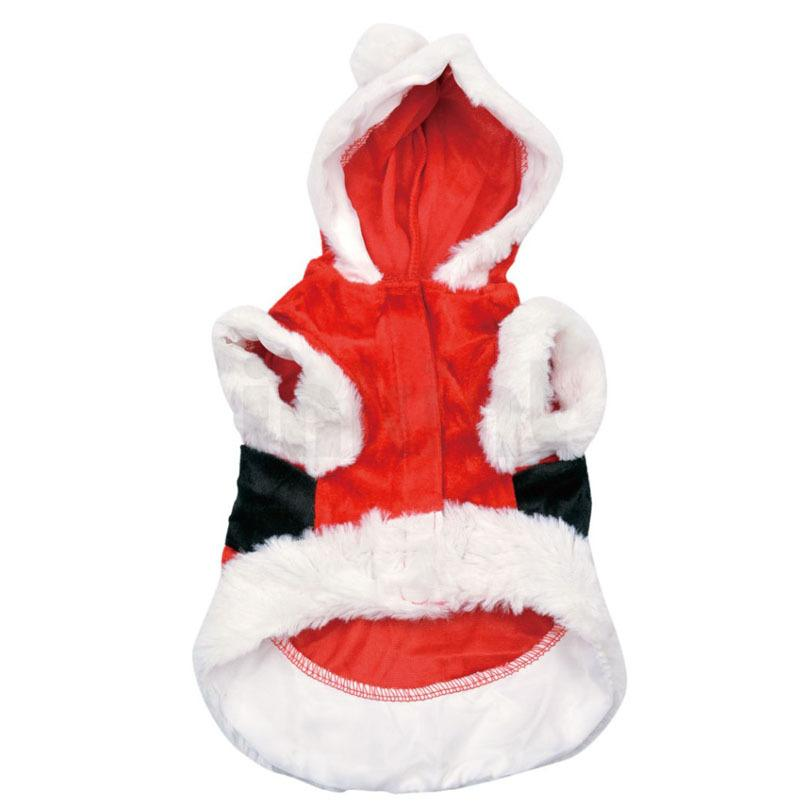 Red Christmas Red Santa Claus Puppy Dog Costume Pet Cat Coat Winter Clothes Christmas Apparel Cotton Clothing with Hat Hoody Dress 2 Style