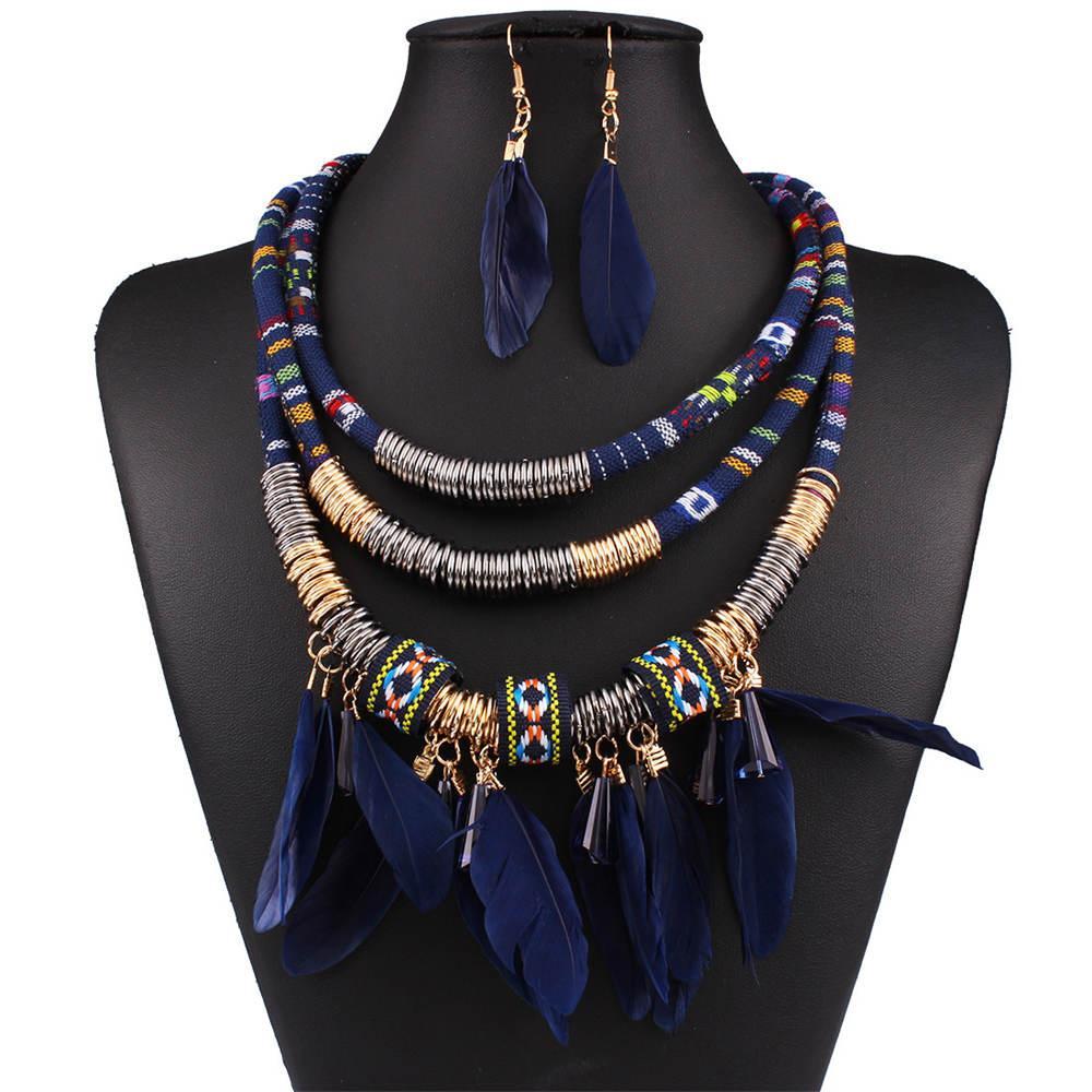 Colliers exagérés nouvelle plume bijoux ensemble ethnique or multicouche plume rouge gland bijoux africains ensemble HD-034