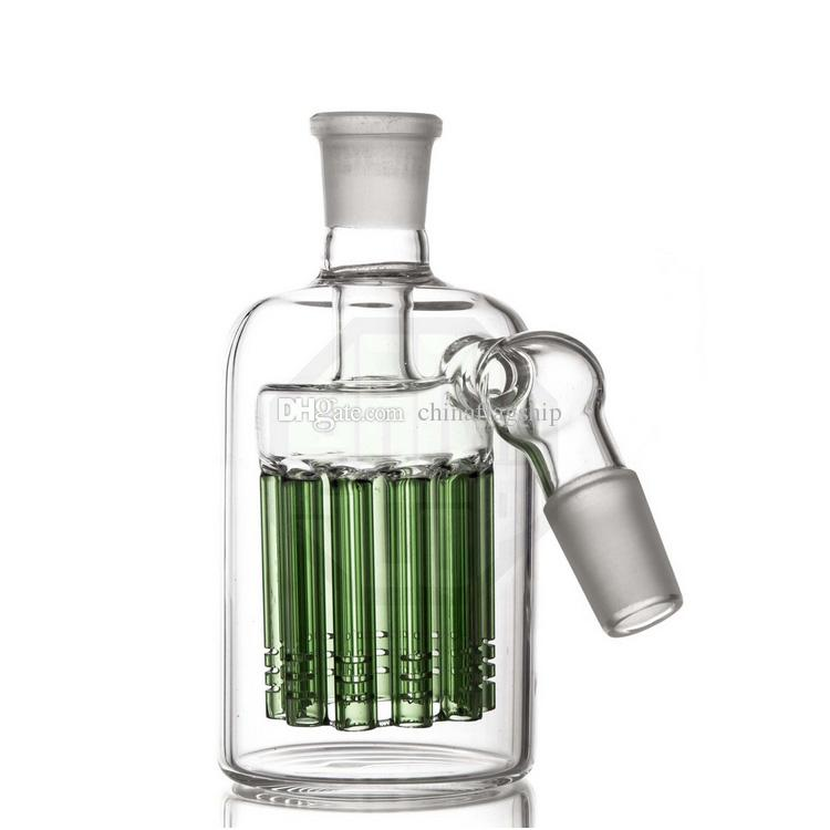45 degree 11 Armed Wide Tree Perc Scientific Glass Ashcatcher 14mm or 18mm joint as well as green blue and clear colored glass